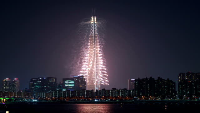 View of Lotte World Tower (one of the tallest building in Korea) Fireworks Festival at night