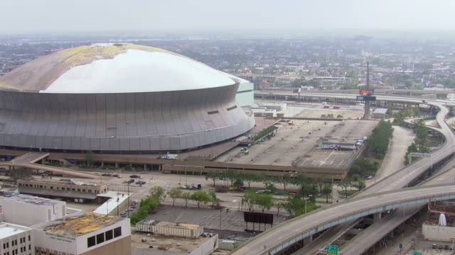 view of louisiana superdome / united states - baton rouge stock-videos und b-roll-filmmaterial
