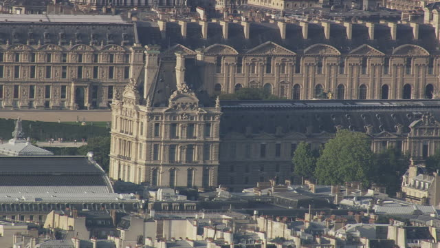 ms aerial pan zo view of louvre / paris, france - louvre stock videos and b-roll footage