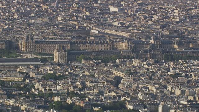 MS AERIAL View of Louvre / Paris, France
