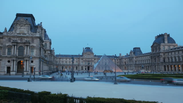 WS T/L View of Louvre Pyramid at night / Paris, France