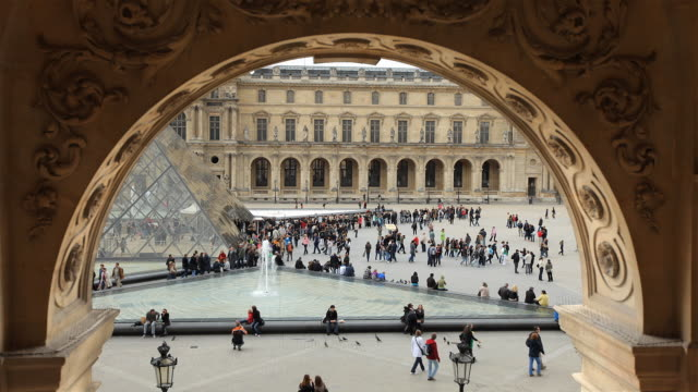 WS T/L View of Louvre Pyramid Courtyard / Paris, France