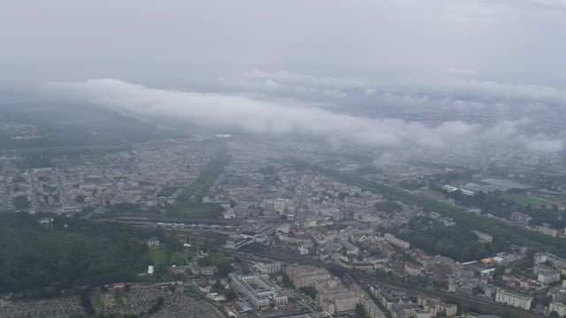 WS AERIAL ZI View of Low cloud over Versialles / Paris, France