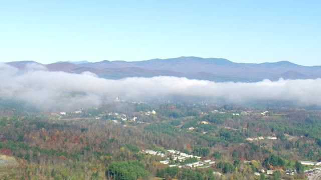 WS AERIA View of Low mist over Montpelier city / Vermont, United States
