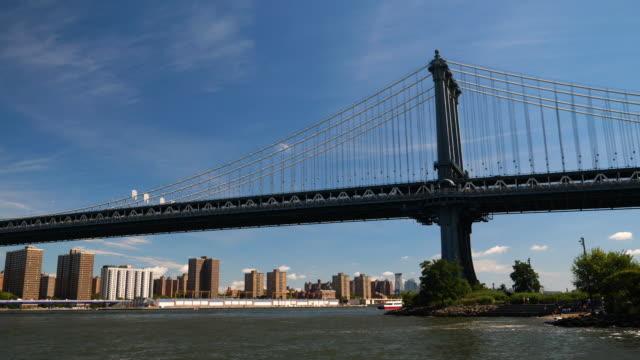 stockvideo's en b-roll-footage met weergave van lower manhattan en brooklyn bridge - wall street lower manhattan