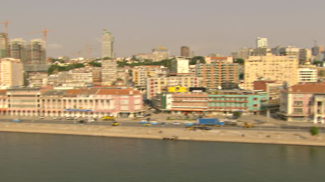WS AERIAL View of Luanda bay from National Bank / Luanda, Angola