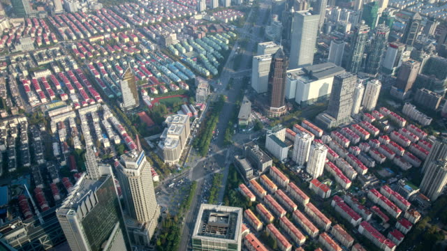 view of lujiazui apartment district from swfc tower observatory at daytime in shanghai, china - housing development stock videos & royalty-free footage