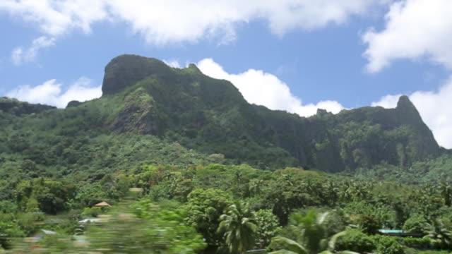 view of lush mountains in tahiti, driving point of view - franska polynesien bildbanksvideor och videomaterial från bakom kulisserna