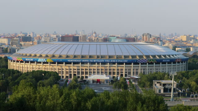 view of luzhniki stadium from sparrow hills, moscow, russia - luzhniki stadium stock videos & royalty-free footage