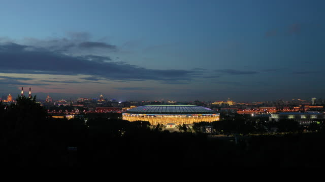 view of luzhniki stadium from sparrow hills, moscow, russia - international team soccer stock videos & royalty-free footage