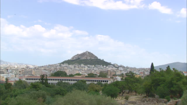 ws zi view of lycabettus hill / athens, attica, greece - lycabettus hill stock videos & royalty-free footage