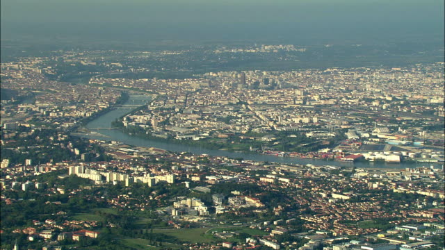 AERIAL, View of Lyon, Rhone-Alpes, France