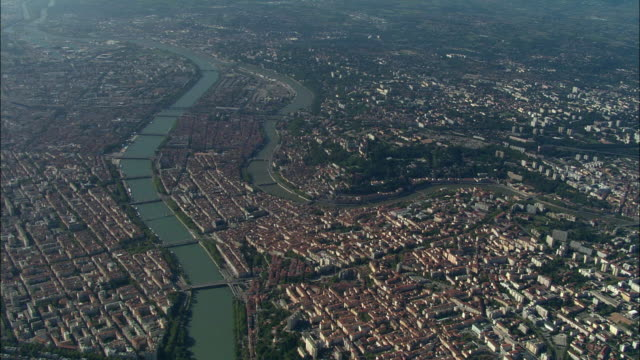 aerial, view of lyon, rhone-alpes, france - rhone river stock videos & royalty-free footage