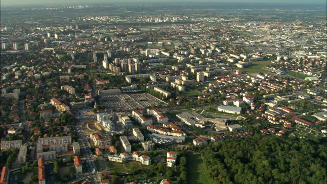 AERIAL, View of Lyon suburbs, Rhone-Alpes, France
