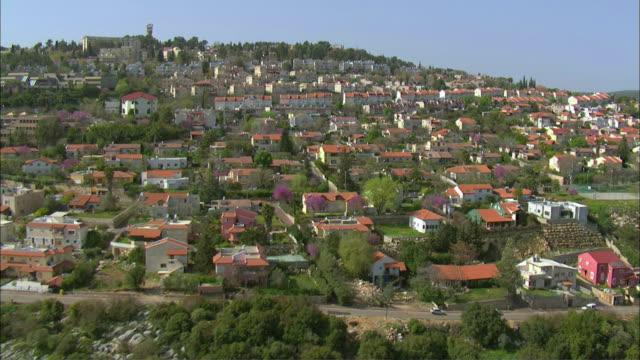 LOW AERIAL View of Ma'alot-Tarshiha / Western Galilee, Israel
