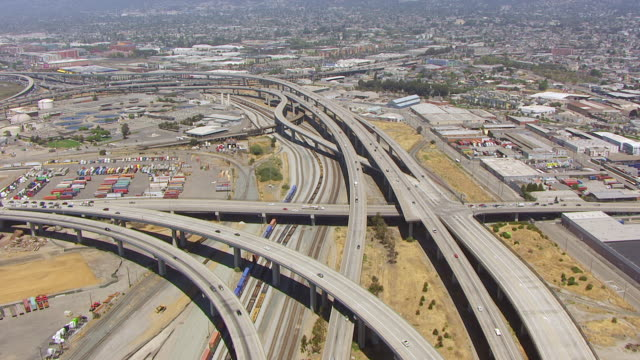 WS AERIAL POV View of MacArthur Maze overpass / Berkeley, California, United States