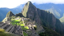 View of Machu Picchu and the mountains that surround the city