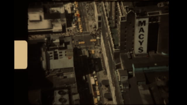 view of macy's department store from the empire state building in the early 1970's. - 百貨店点の映像素材/bロール