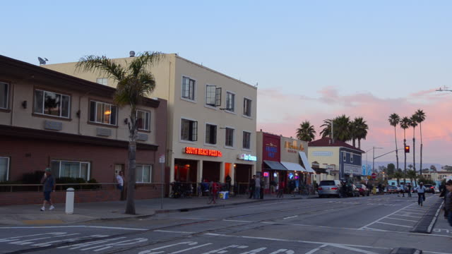 ws view of main street shops at beach / santa cruz, california, united states - santa cruz california stock videos and b-roll footage