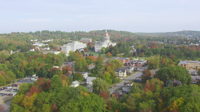 ws aerial pov view of maine state house / augusta, maine, united states - augusta maine stock videos & royalty-free footage