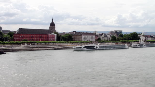 view of mainz along the rhine river in germany. - naga river stock videos and b-roll footage