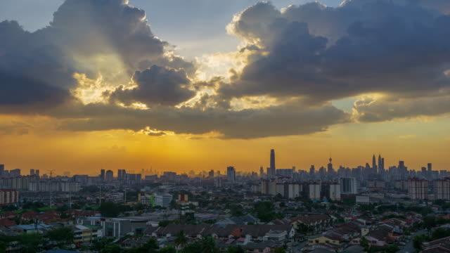 View of majestic sunset over downtown Kuala Lumpur, Malaysia.