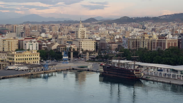 ws view of malaga city center with old port and ferry terminal in foreground left / malaga, andalusia, spain - 2k resolution stock videos and b-roll footage