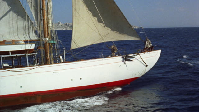 ms aerial view of  malasie sailboat  - 50 seconds or greater stock videos & royalty-free footage