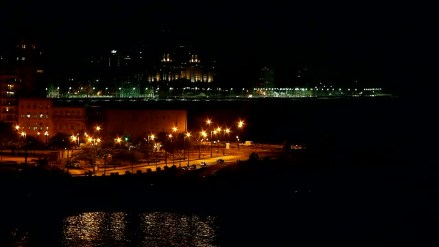 view of malecon from morro castle at the night, havana, cuba - hotel nacional stock videos and b-roll footage