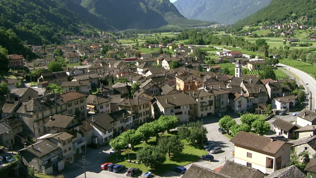 ws aerial view of malvaglia and view on lower part of blenio valley / malvaglia, ticino, switzerland - ticino canton stock videos and b-roll footage