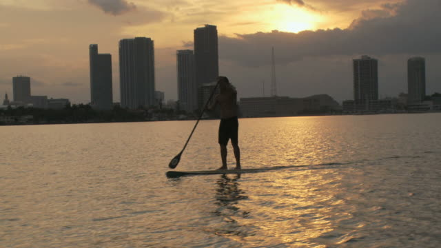 ws pan view of man riding paddle board at dusk / miami beach, florida, usa - newoutdoors stock videos & royalty-free footage