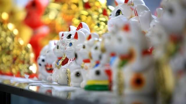view of maneki neko (use it as a decoration and an amulet for good-luck) in a row - 繰り返し点の映像素材/bロール