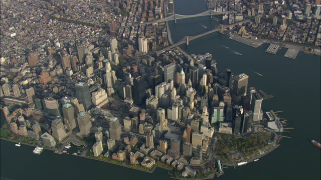 aerial ws view of manhattan / new york city, new york, usa - river hudson stock videos & royalty-free footage