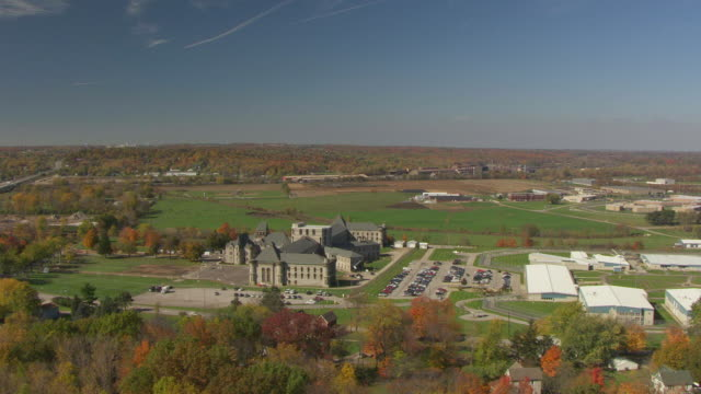 WS AERIAL View of Mansfield Correctional Institution in Richland County and landscape / Mansfield, Ohio, United States