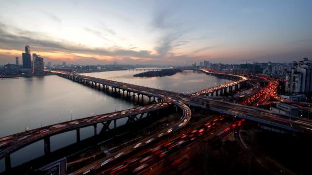 View of Mapodaegyo bridge and Gangbyeon Expressway at Han River