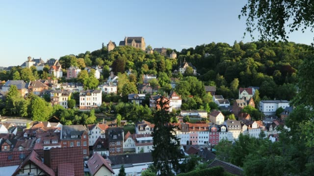 view of marburg, hesse, germany - circa 13th century stock videos & royalty-free footage