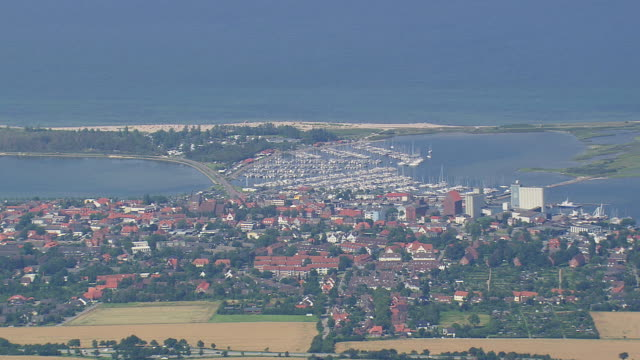 ws aerial zi view of marina at heiligenhafen / schleswig-holstein, germany - schleswig holstein stock videos & royalty-free footage