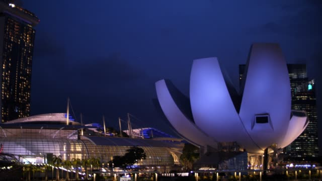view of marina bay in singapore city - marina bay singapore stock videos and b-roll footage