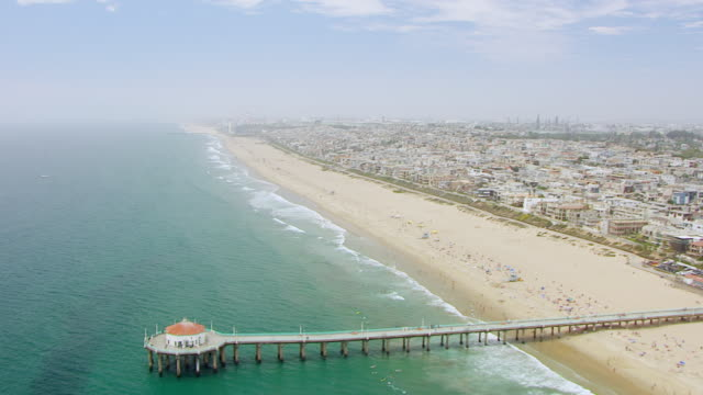 WS AERIAL POV View of Marina del Rey and pier / Los Angeles County, California, United States