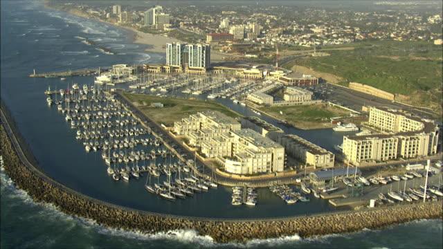 WS POV AERIAL View of marina of herzeliya in coastal plain / Herzliya, Israel