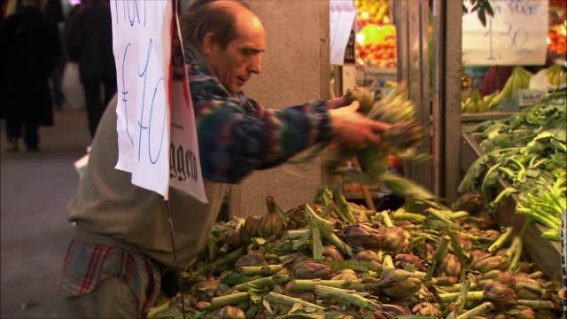 ms zi view of market in testaccio neighborhood / rome, italy - rome italy video stock e b–roll