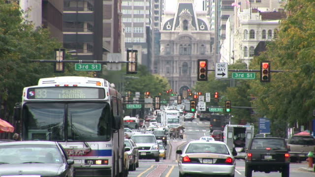 view of market street in philadelphia united states - philadelphia pennsylvania video stock e b–roll