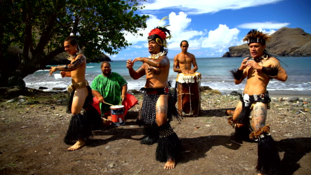 view of marquesan pacific dancers performing nuku hiva - polynesian ethnicity stock videos and b-roll footage