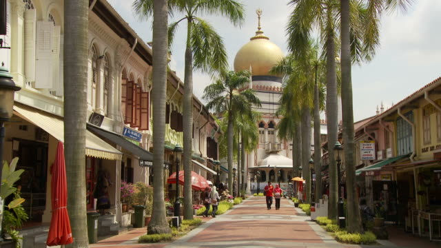 view of masjid sultan mosque in singapore - sultan mosque singapore stock videos and b-roll footage