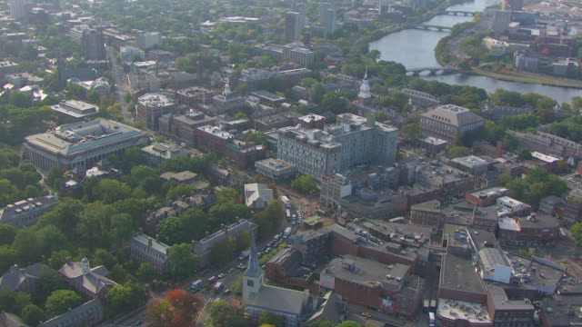 ws aerial pov view of massachusetts hall / cambridge, massachusetts, united states - massachusetts stock-videos und b-roll-filmmaterial