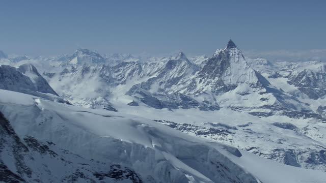 ws aerial view of matterhorn mountain / switzerland - switzerland stock videos & royalty-free footage