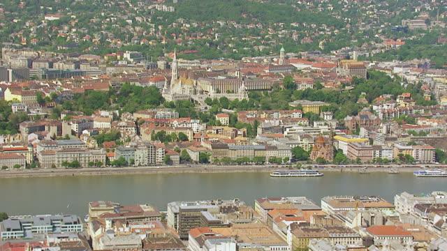 ws aerial td tu view of matthias church and bridge / budapest, hungary - budapest stock videos & royalty-free footage