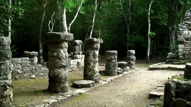 ms tu pan view of mayan ruins / coba ruins, mexico - latin american civilizations stock videos and b-roll footage