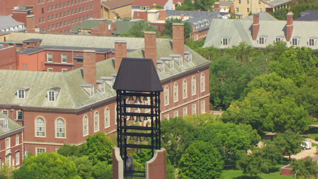 ms zo aerial pov view of mcfarland memorial bell tower with greater campus and university buildings / champaign, illinois, united states - school bell stock videos & royalty-free footage
