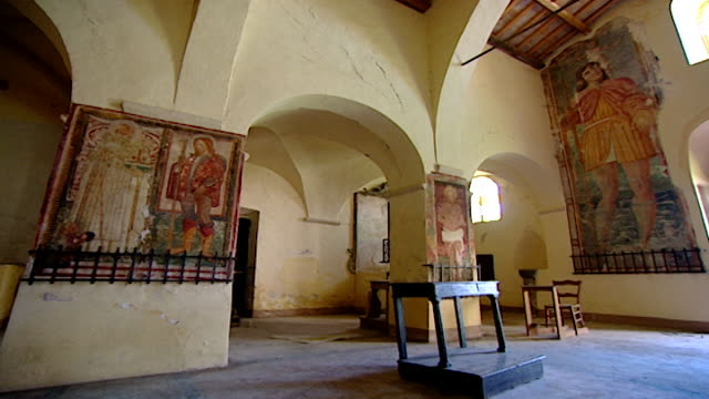 view of medieval frescoes in the church of saint maron in volperino. during the crusades the relics of saint maron, founder of the maronite order,... - the crusades stock videos & royalty-free footage